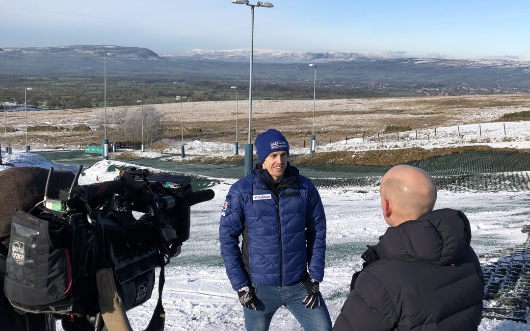 Dave Ryding with the BBC at Pendle